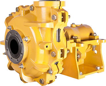 Image of a yellow Wilfley EMW Rubber Slurry Pump.
